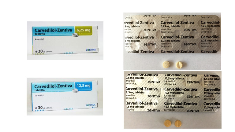 Biztonságos Carvedilol-Zentiva 6,25 mg és 12,5 mg tabletták