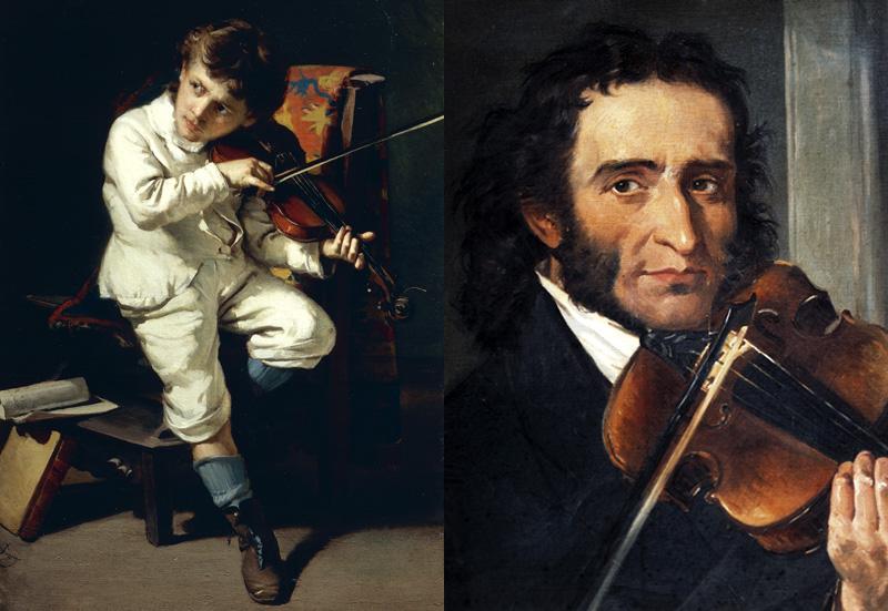 Paganini fiatal és felnőtt korában Giovanni Pezzotta és Andrea Cefaly festményén (Fotó: Getty Images)