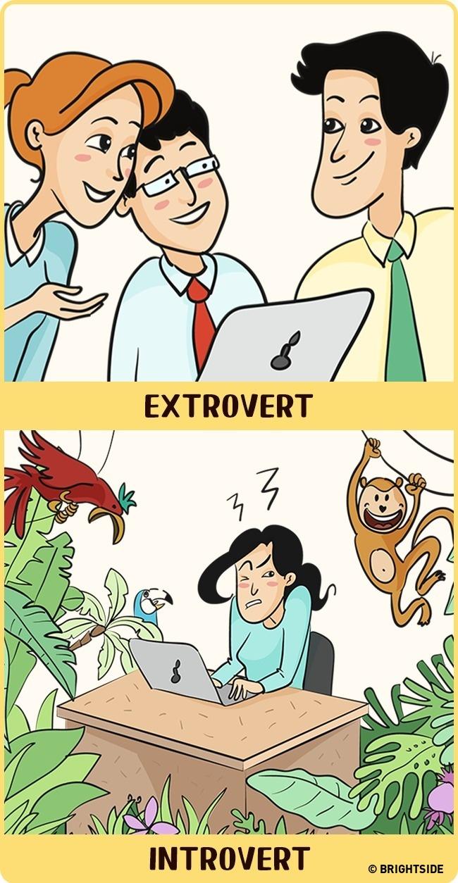 7 rajz, ami megmutatja, milyen különbözően látják a világot az introvertált és az extrovertált emberek