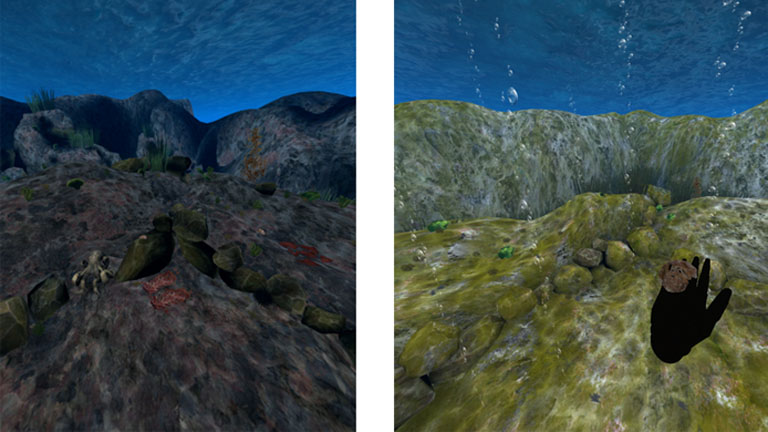 Balra az egészséges élővilág, jobbra az, ami lesz az óceánokból az évszázad végére (Kép: Stanford.edu)