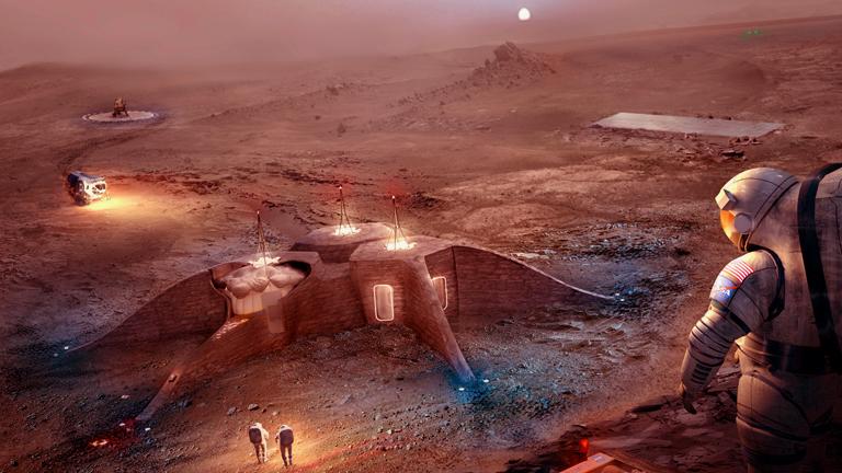 Így nézne ki egy kisebb marsi kolónia a NASA egyik terve szerint (Kép: NASA)