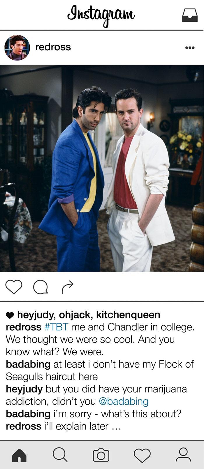 Ilyen lenne Ross Geller instagramja