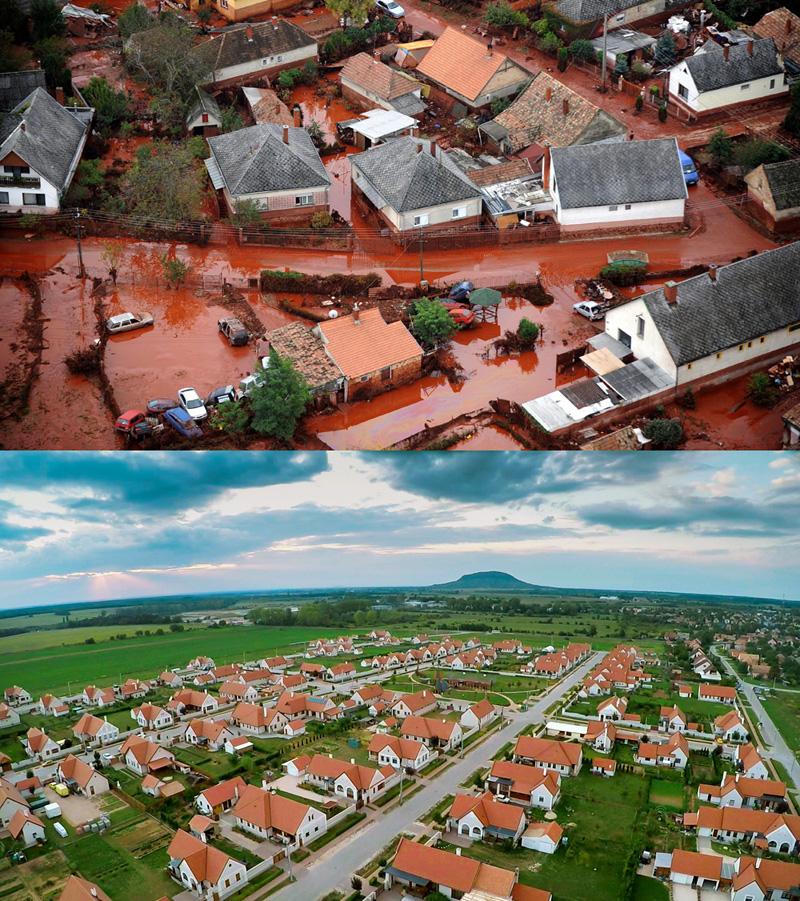 Devecser utcái a katasztrófa idején (Fotó: MTI/H. Szabó Sándor)