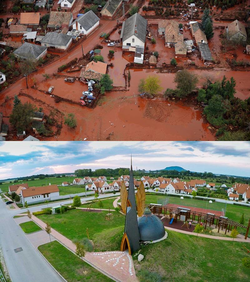 Felül: Devecser utcái a katasztrófa idején (Fotó: MTI/H. Szabó Sándor)