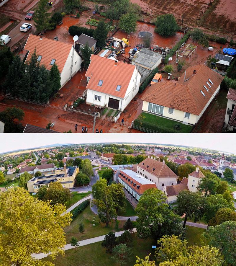 A) Az elöntött házak (Fotó: MTI/H. Szabó Sándor)