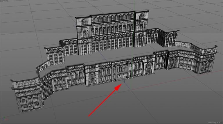 A román parlament számítógépes modellje a tervezéshez - piros nyíllal jelöltük, hogy mekkora egy ember (Kép: Limelight Projection Mapping)