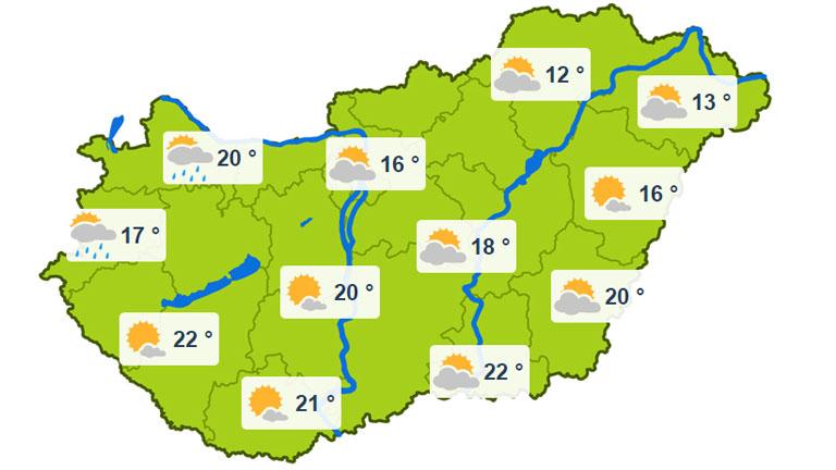 Keddi várható nappalo hőmérsékletek - forrás: kiderul.hu