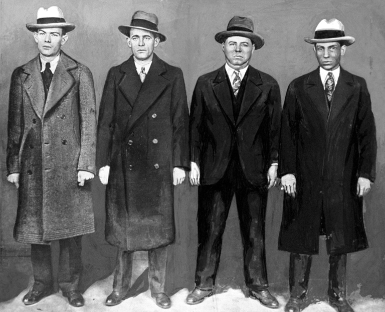 Ed Diamond, brother of Jack; Jack (Legs) Diamond, New York racketeer leader; Fatty Walsh and Charles 'Lucky' Luciano
