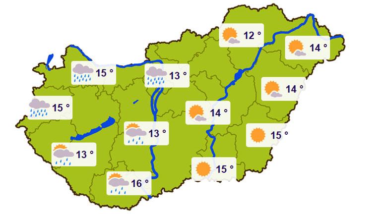 Szombati várható hőmérsékletek - Forrás: kiderul.hu