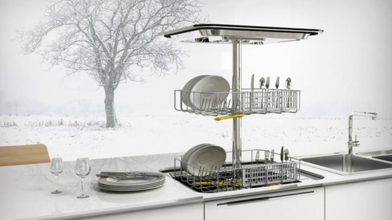 Fölülről nyíló mosogatógép szűkös helyekre