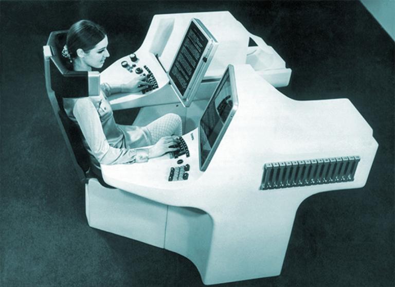 A jövő irodája 1969-ből (Fotó: Tumblr)