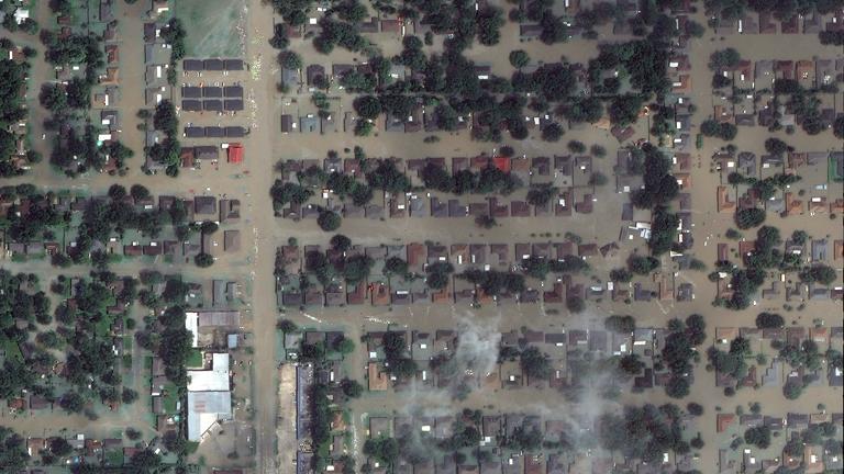 A DigitalGlobe műhold felvétele a louisianai áradásokról