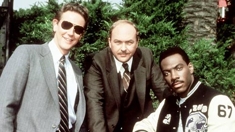Judge Reinhold, John Ashton és Eddie Murphy a Beverly Hills-i zsaru forgatásán (Fotó: Tumblr)