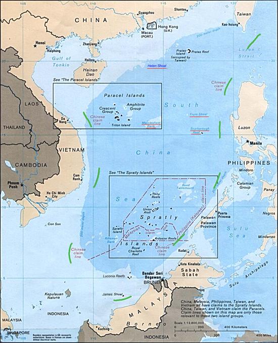A kilenc pontos vonal, amely a Kína szerinti szuverén területet mutatja (Kép: Wikipedia)