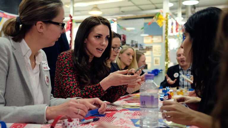 Katalin hercegnő egy karácsonyi rendezvényen