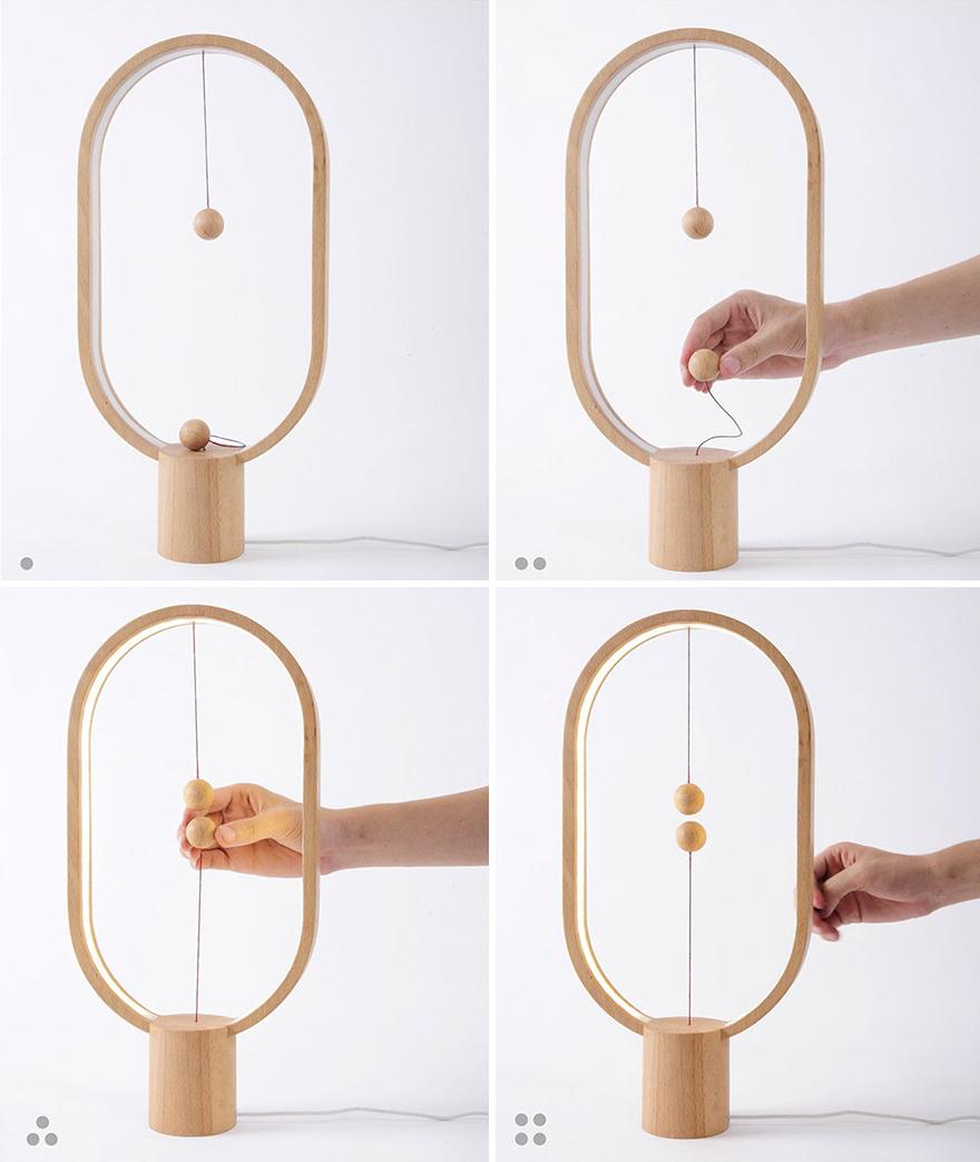 Vagány, minimalista lámpa lebegő kapcsolóval