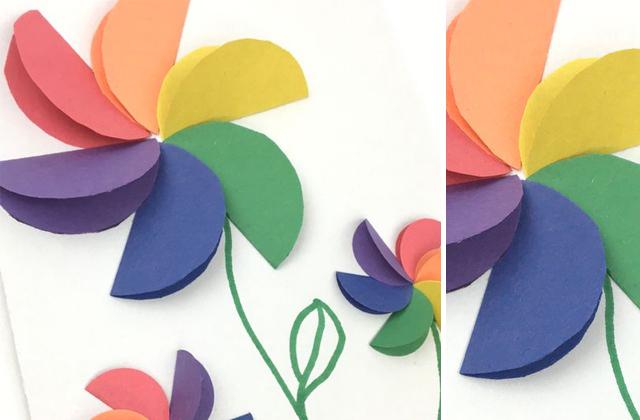 Vágjunk ki színes köröket! Ezek félbehajtását és papírra ragasztását, bízzuk a gyerekekre!