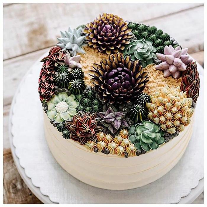 Édes pozsgáskertek elképesztő tortákba ültetve