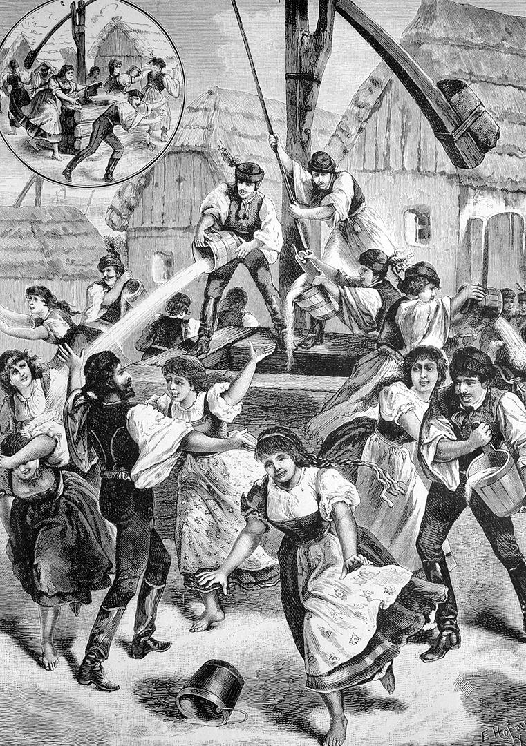 Húsvéti locsolkodás (illusztráció, 1886)