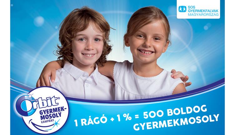 1 rágó + 1 % = 500 boldog gyermekmosoly