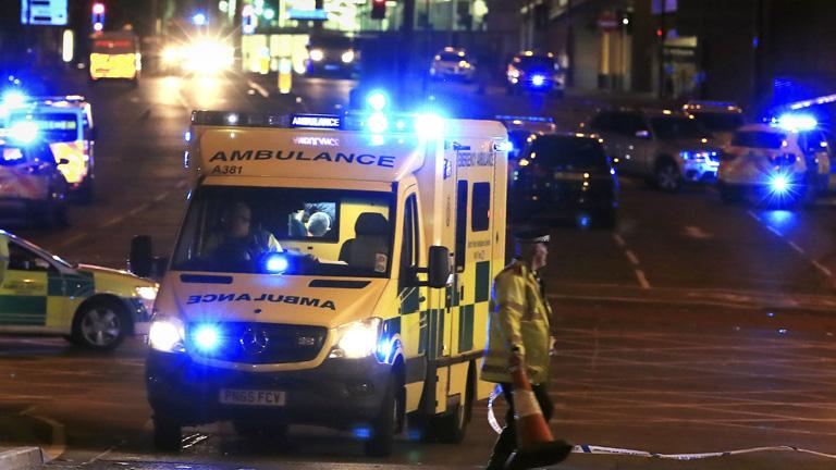 A Manchester Arena környéként hermetikusan lezárták a merénylet után (Fotó: MTI/AP/PA/Peter Byrne)
