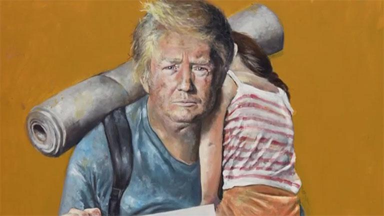 Donald Trump amerikai elnök Abdalla Al Omari festményén (Fotó: CNN)