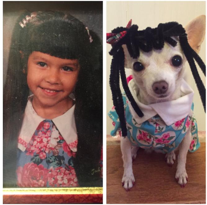 Kutyájával fotózta újra a családi emlékeket egy lány