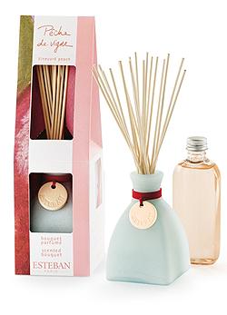 A kis vázában a bambuszpálcák csokorként bomlanak ki és árasztják az illatot a légtérbe. Ha elfogyott a parfüm, utántöltőből tudod pótolni. Esteban Paris pálcás illatosító barack illatban (6590 Ft, Sz