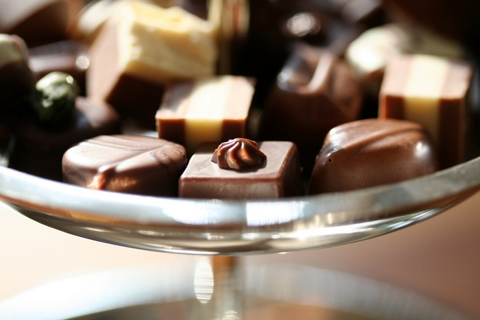 Close-up of chocolate candies in bowl