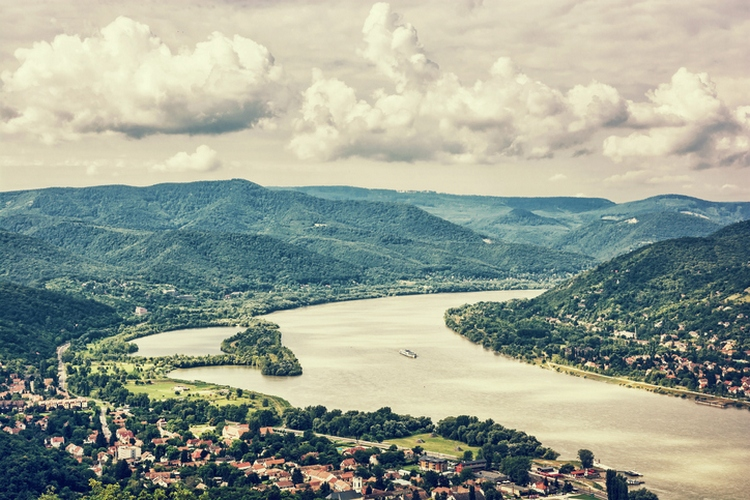 View from Ruin castle of Visegrad, Hungary, Danube, photo filter