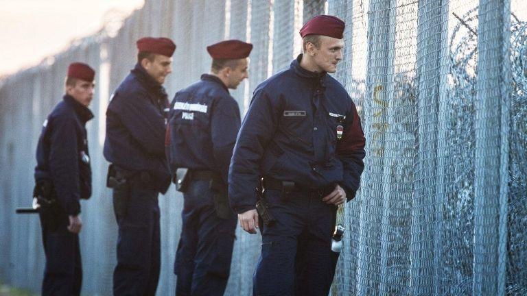 Rendőrök járőröznek az ideiglenes biztonsági határzár mellett a magyar–szerb határon 2015-ben (fotó: Ujvári Sándor / MTI)