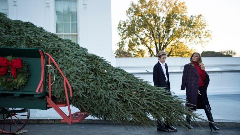 Melania és Barron Trump, valamint a fa (fotó: AFP / Brendan Smialowski)
