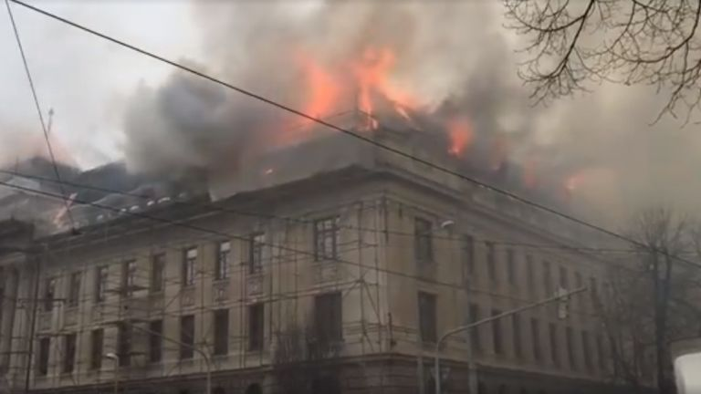 kassai adóhivatal, leégett (fotó: Facebook / Ladislav Miko)