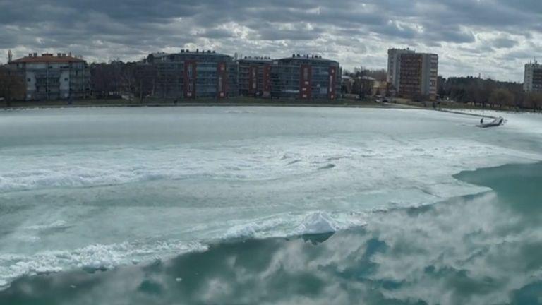 Balaton, jég (forrás: TV2)