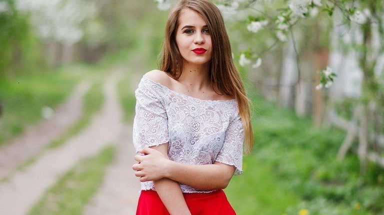 lány tavasz ruha fa piros
