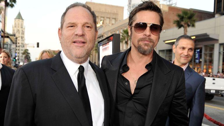 Harvey Weinstein és Brad Pitt 2009-ben a Becstelen Brigantyk bemutatóján (fotó: Kevin Winter/Getty Images/AFP)