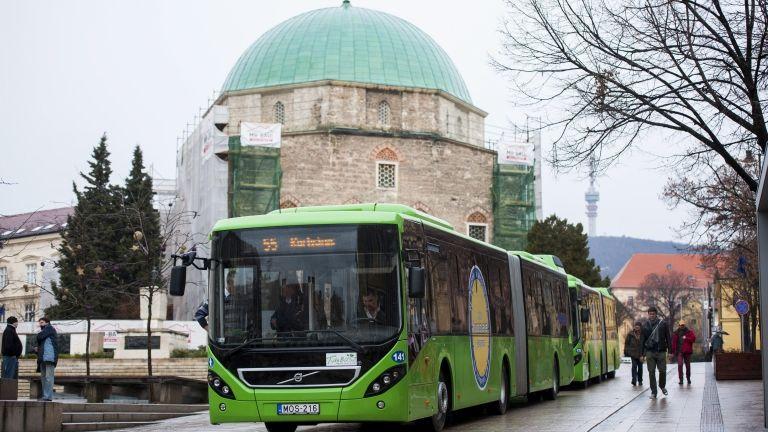 pécsi buszok (MTI Fotó: Sóki Tamás)