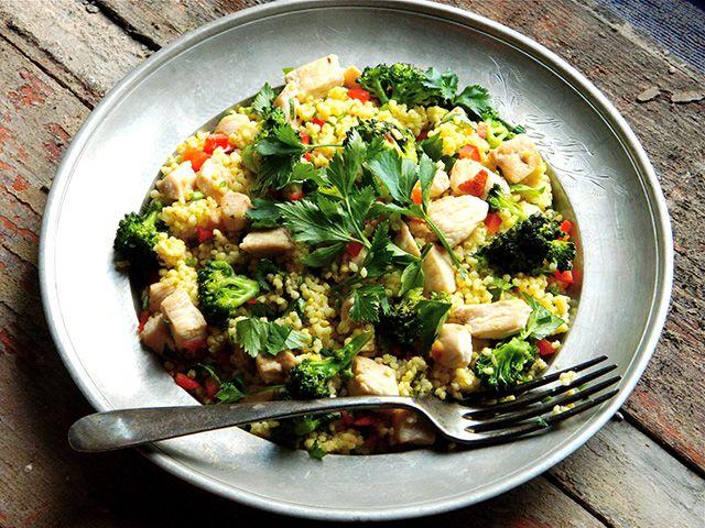 hétvégi menü, brokkolis csirkés köles, nyár