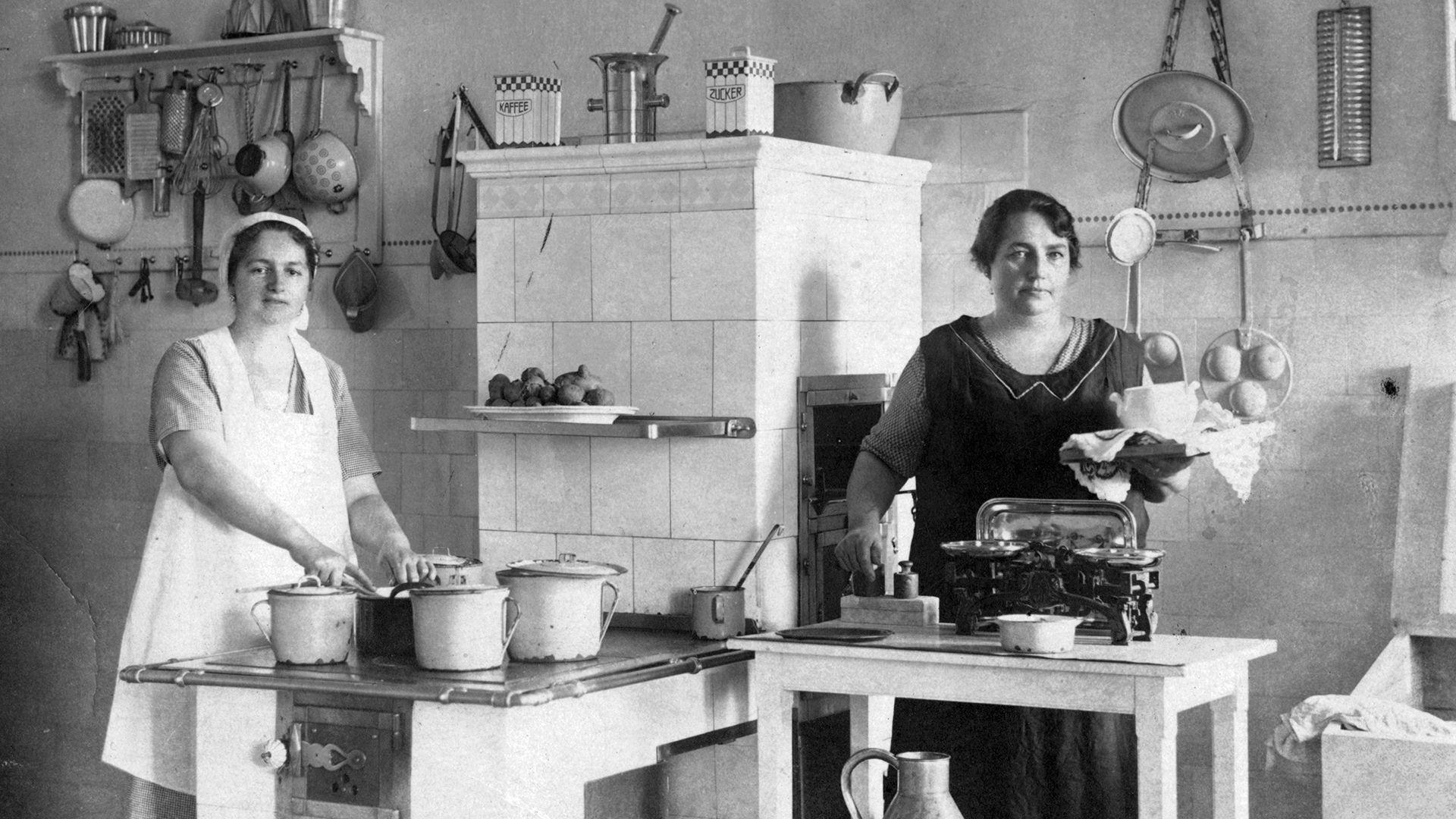 régi konyha, főzés, fekete-fehér
