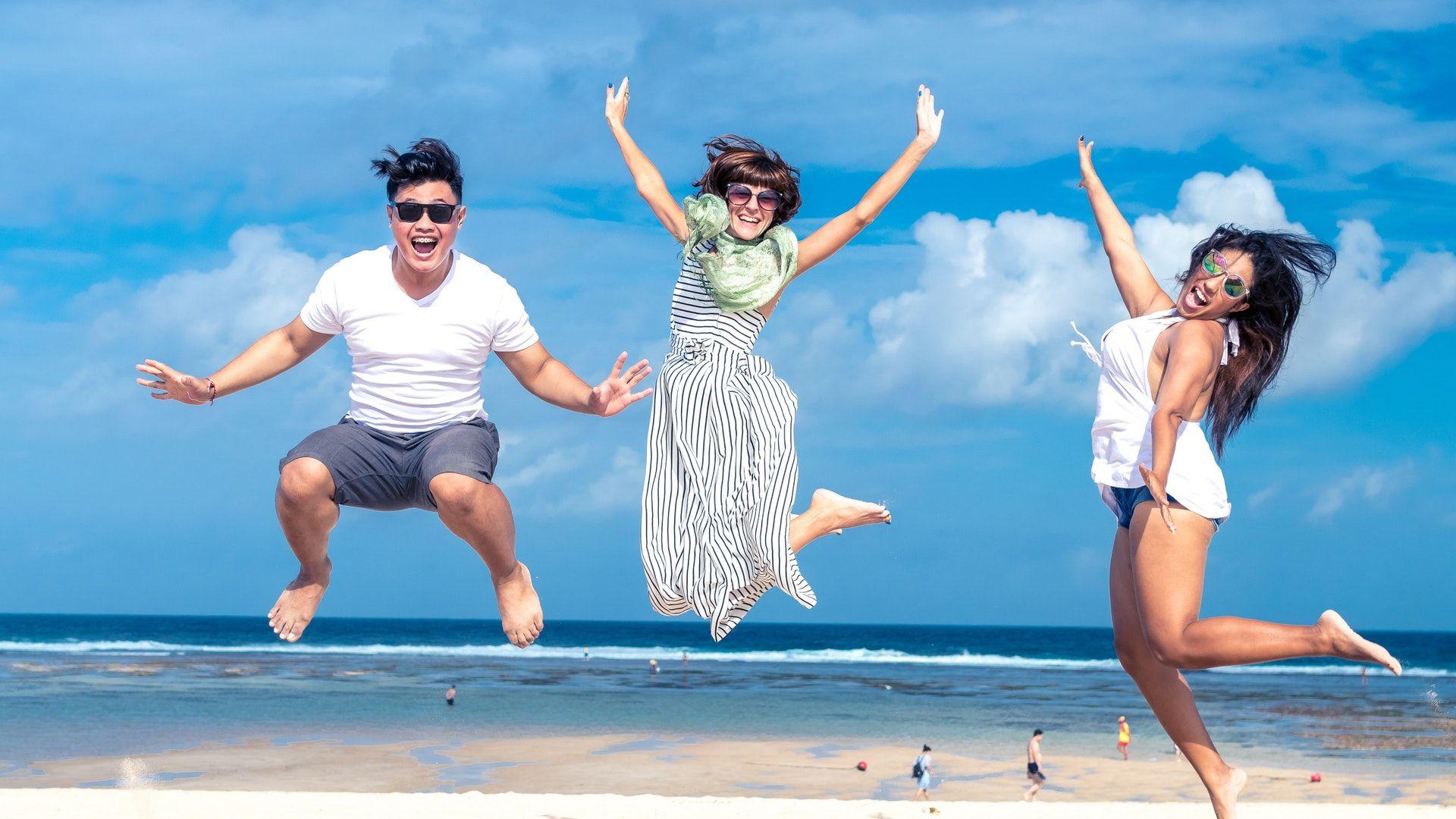 vakáció, tengerpart, szülők, boldogság