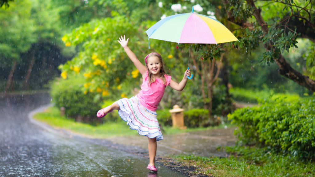 eső kislány esernyő nyár