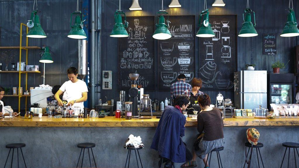kávézó, bár, pult, reggeliző