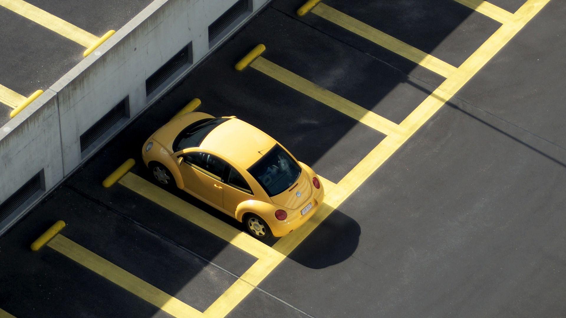 autó, parkoló, hőség, sárga bogár