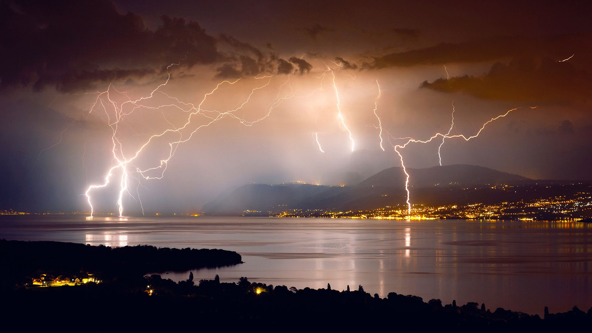 villám, hajó, vihar