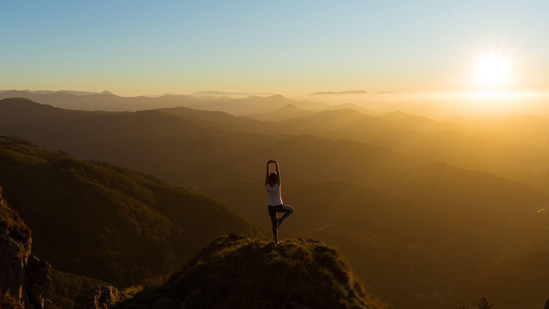 jóga, torna, hegy, napfény