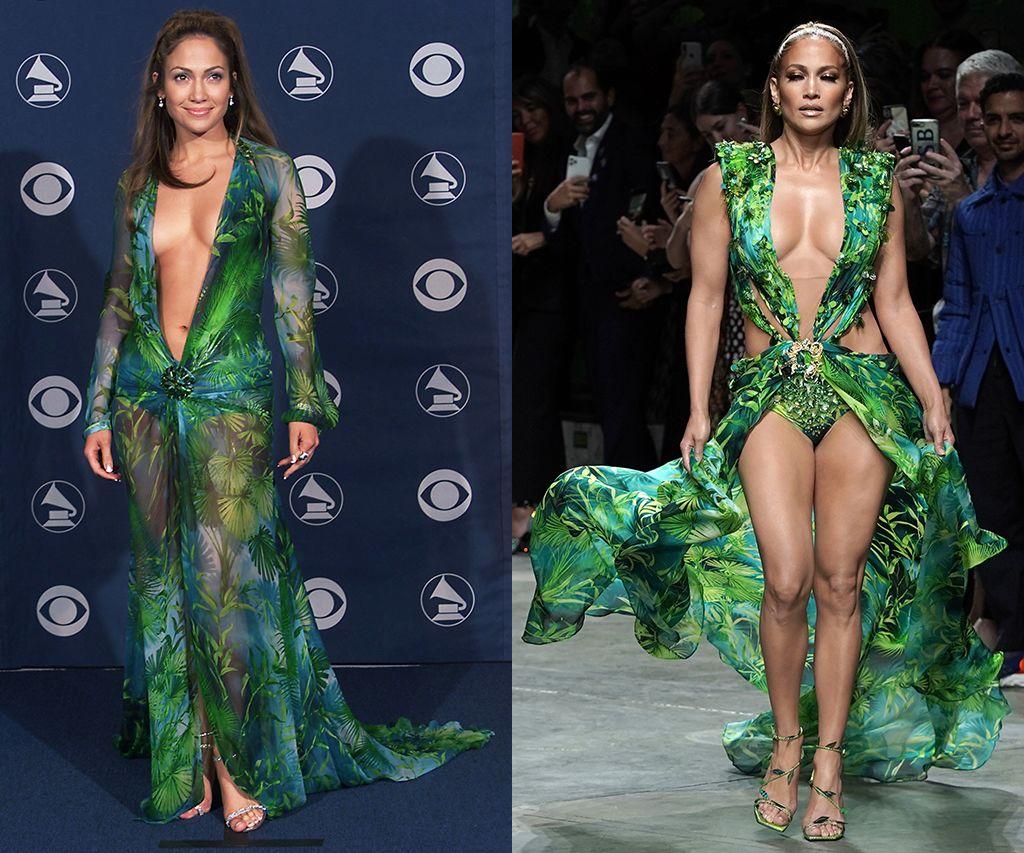 Jennifer Lopez 2000-ben és 2019-en a trópisu mintás Versace ruhában