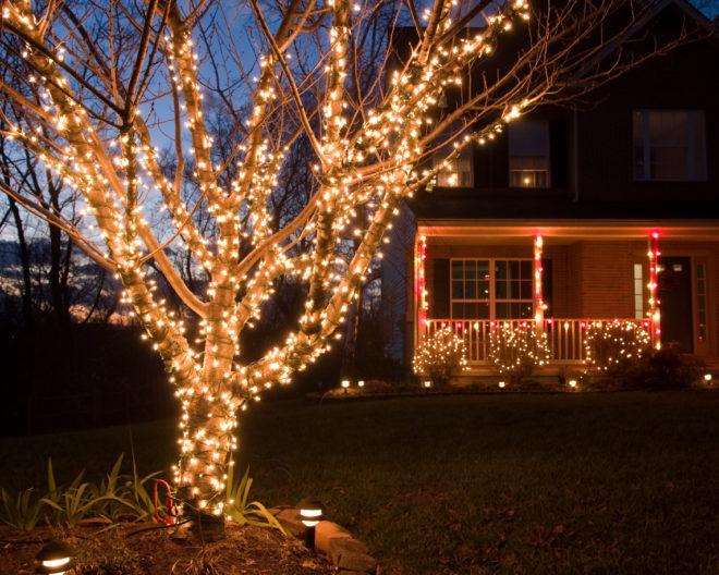 karácsonyi fényfüzér dekoráció
