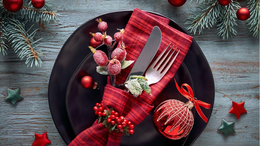 karácsony, asztal teríték