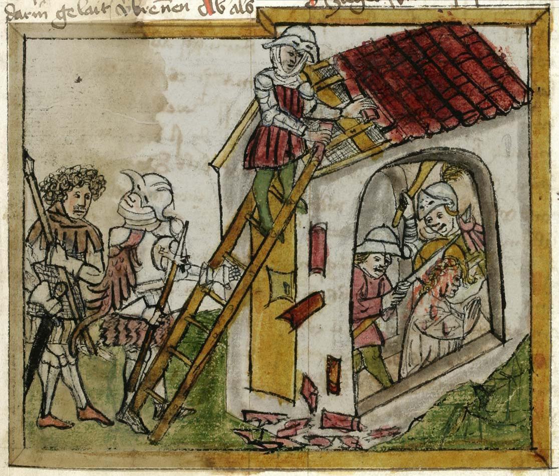 Szent Viboráda mártírhalála egy német kódexben (Forrás: Wikipeda)