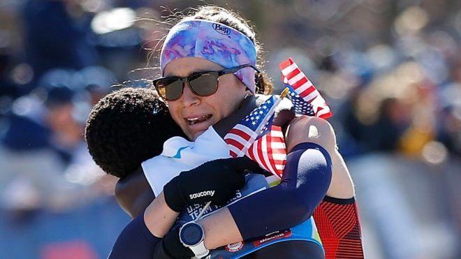 Molly Seidel a győzelem után Atlantában. (Fotó: Cox/Getty Images/AFP)